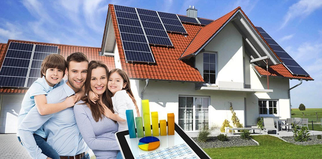 happy family after receiving solar panel funding