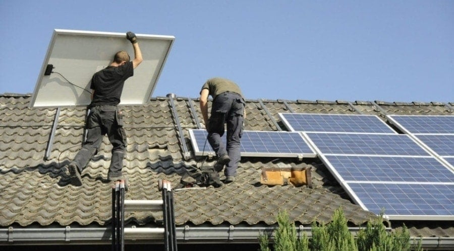 solar panel install on homeowner that received solar panel funding